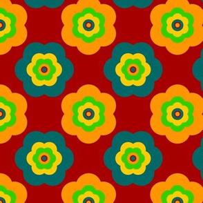 Geometric Pattern: Six Petal Flower: Red