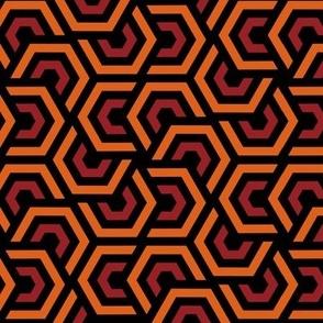 Geometric Pattern: Layered Hexagon: Orange