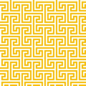Geometric Pattern: Key Bridge Interlock Negative: Yellow