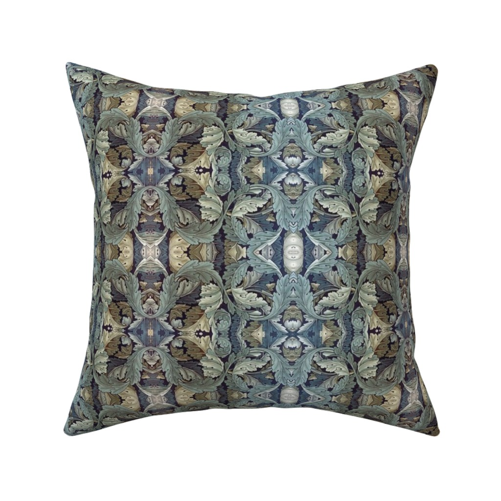 Catalan Throw Pillow featuring Vintage Leaf Pattern by whimzwhirled