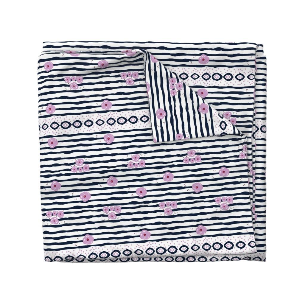 Wyandotte Duvet Cover featuring purple passion 763 batik stripe by drapestudio