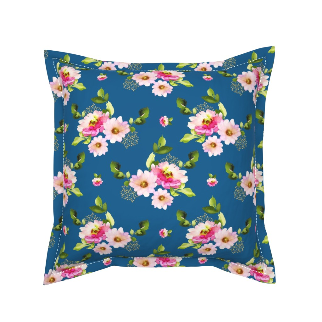 "Serama Throw Pillow featuring 8"" Pink and Green Florals - Blue by shopcabin"