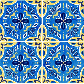 Sevilla - Spanish Tiles Blue & Yellow Large Scale