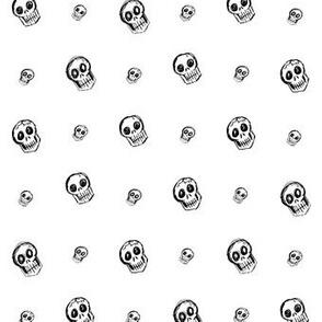 Scribble Goth - Skull Polka Dots, white