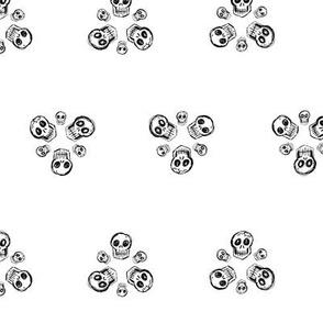 Scribble Goth - Skull Florets, white