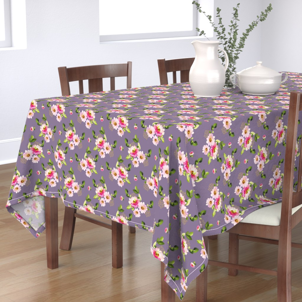 """Bantam Rectangular Tablecloth featuring 8"""" Pink and Green Florals - Lilac by shopcabin"""