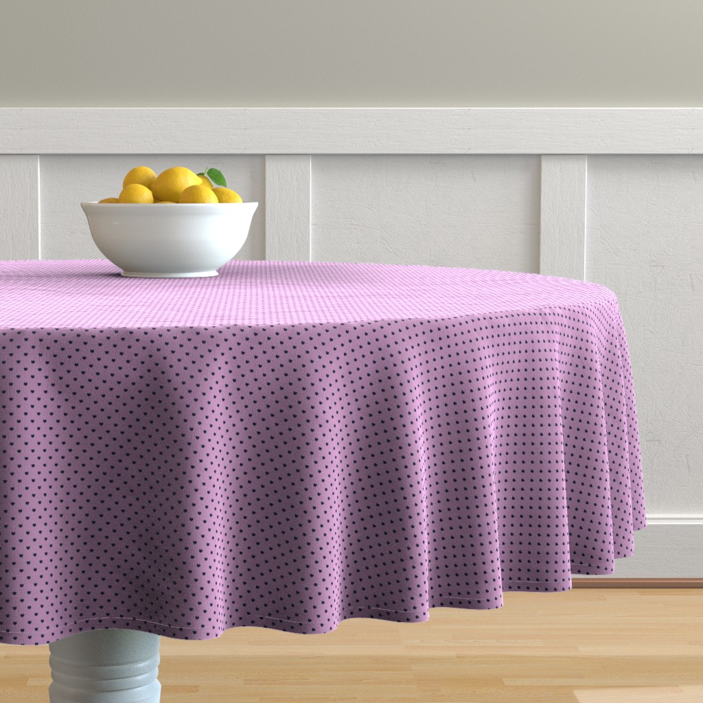 Malay Round Tablecloth featuring Navy hearts on orchid pink by petitspixels