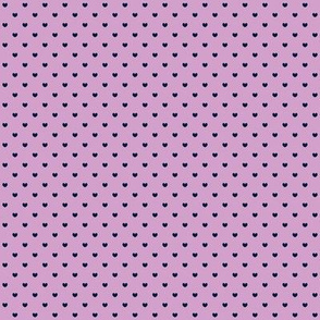 Navy hearts on orchid pink