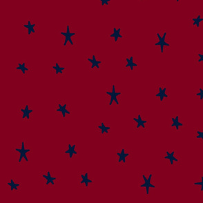 orchid and navy wonky stars navy on red
