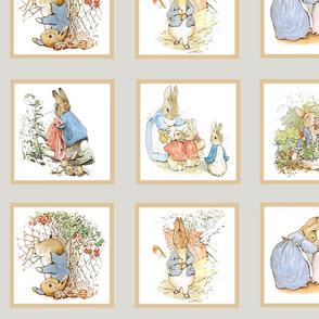 Peter Rabbit Quilt Block Panel Set #1 - Light Gray