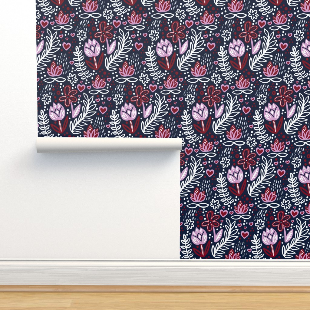 Isobar Durable Wallpaper featuring Orchid Limited Color Palette Floral Tulip by corinnarencreative