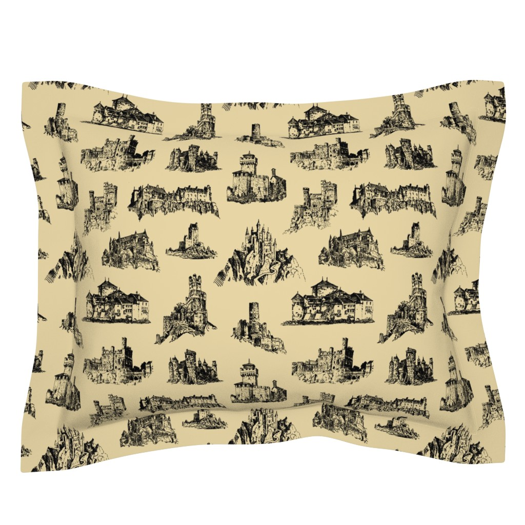 Sebright Pillow Sham featuring Castles on Tan // Large by thinlinetextiles