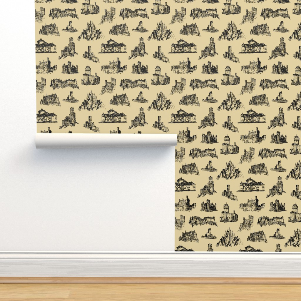 Isobar Durable Wallpaper featuring Castles on Tan // Large by thinlinetextiles