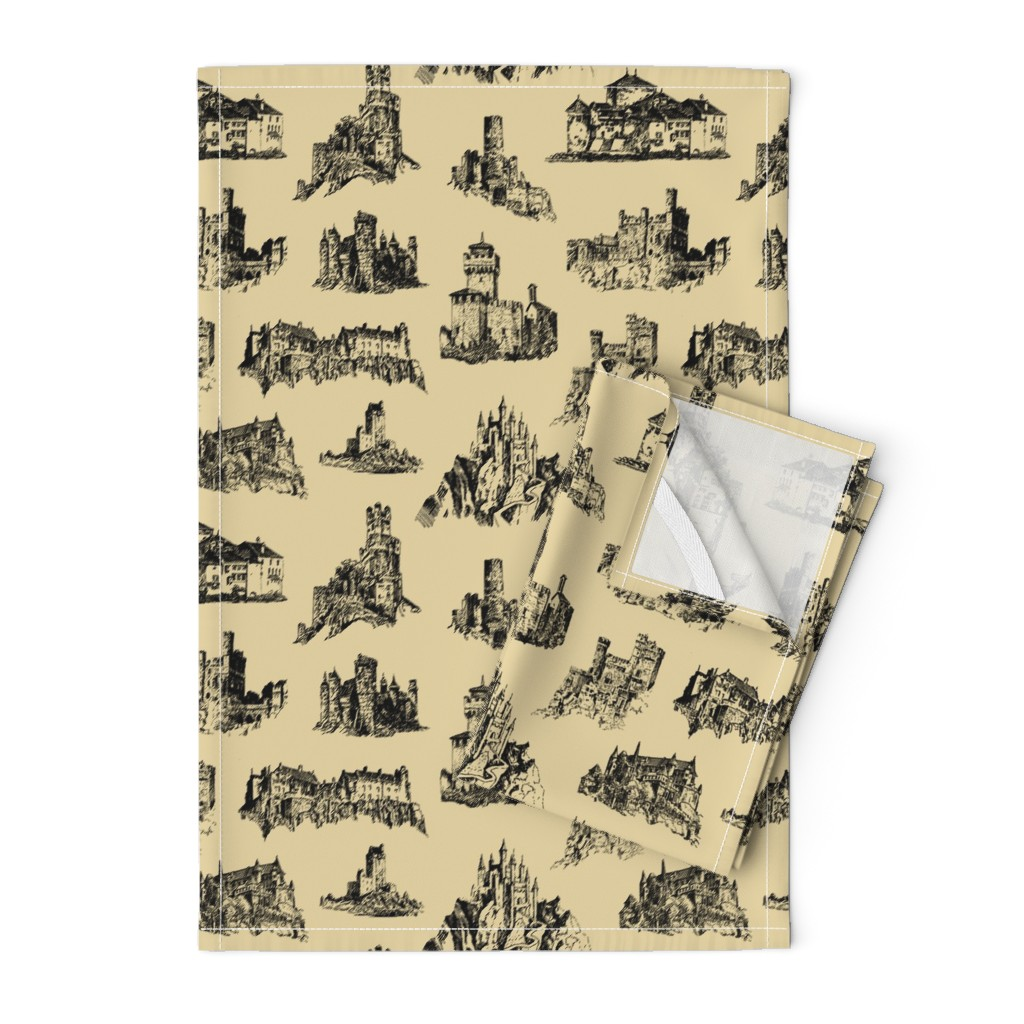 Orpington Tea Towels featuring Castles on Tan // Large by thinlinetextiles
