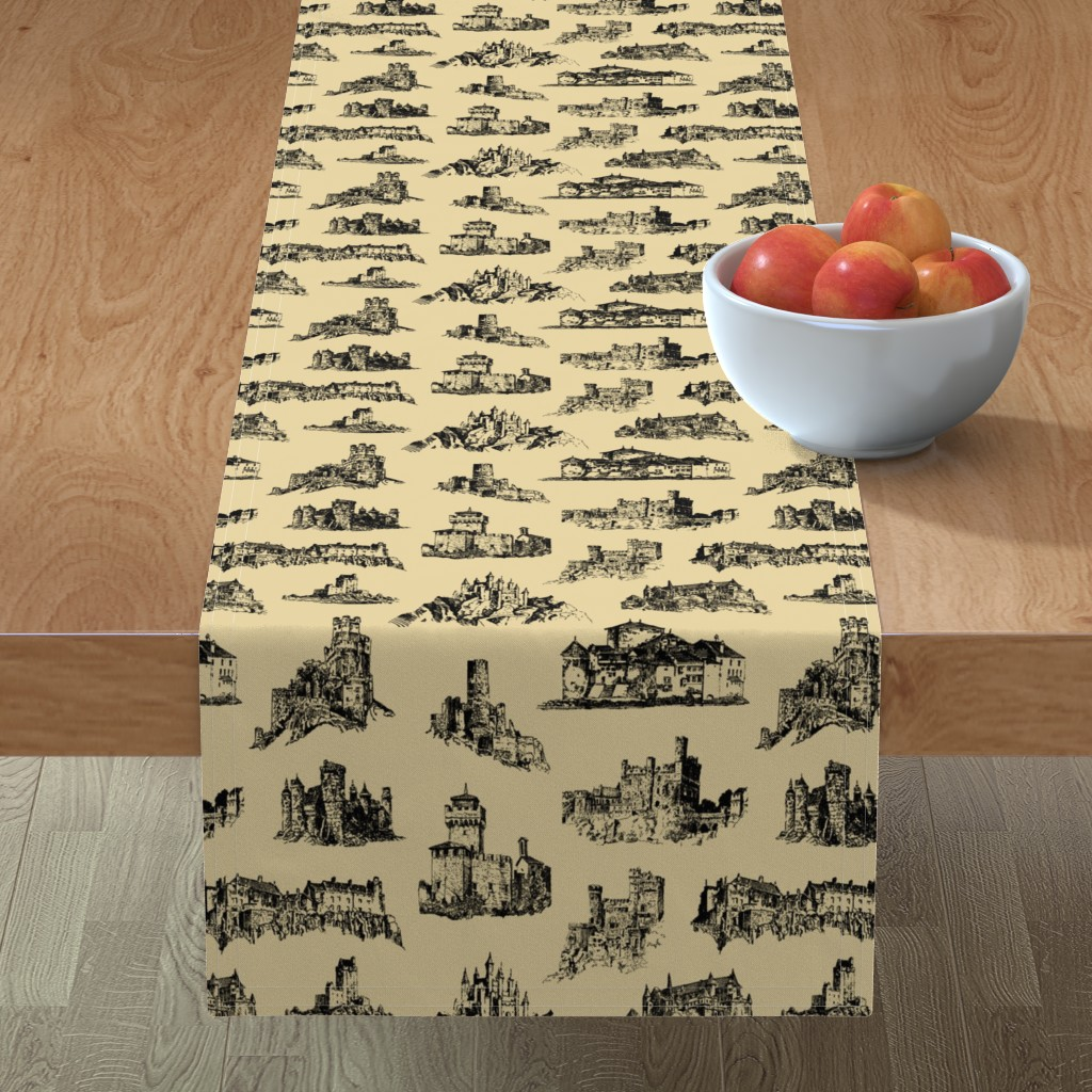 Minorca Table Runner featuring Castles on Tan // Large by thinlinetextiles