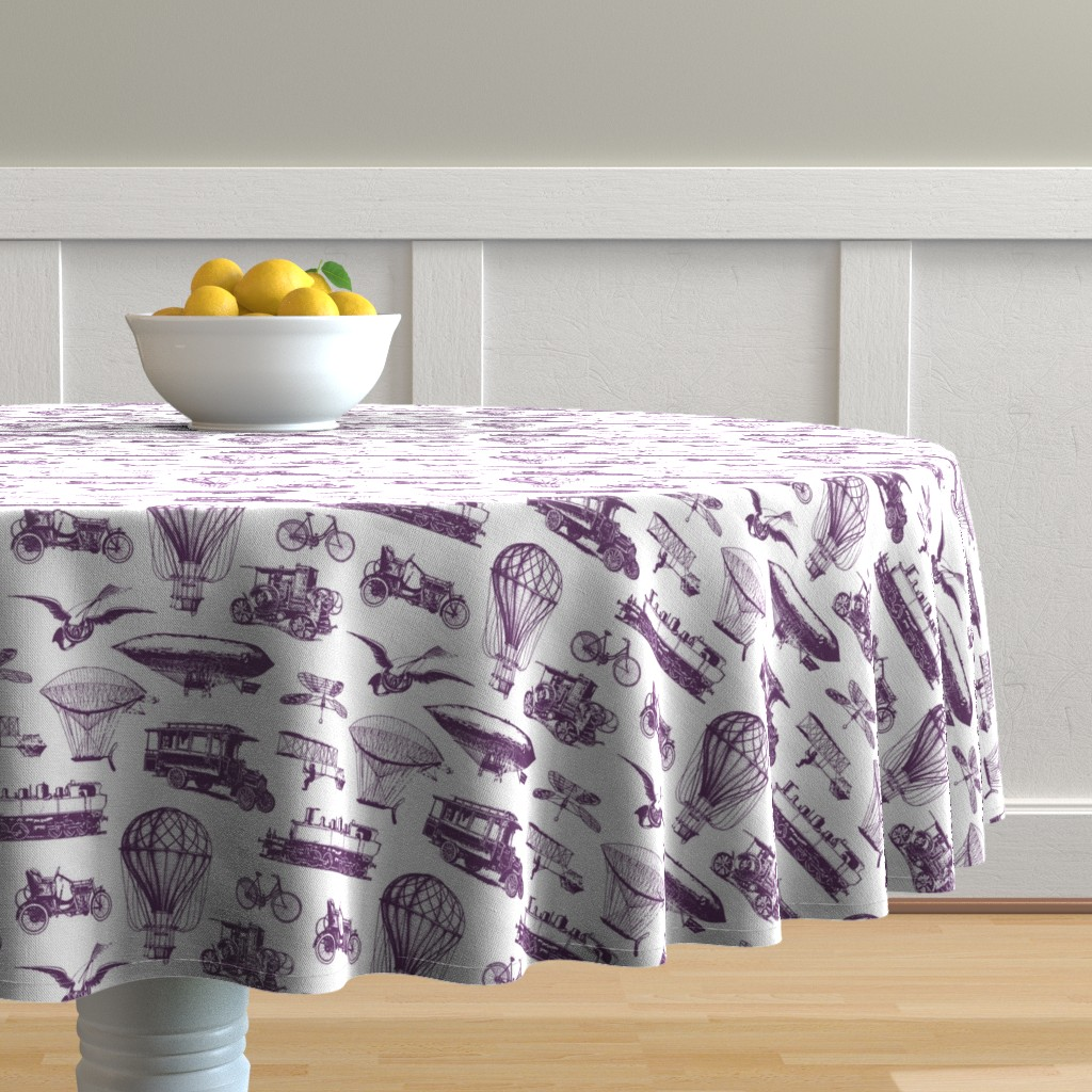 Malay Round Tablecloth featuring Retro Transportation // Purple // Small by thinlinetextiles