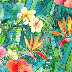Classic Tropical Garden in watercolors 2 extra large print