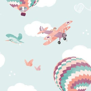 Girl pilot flying - coral/mint
