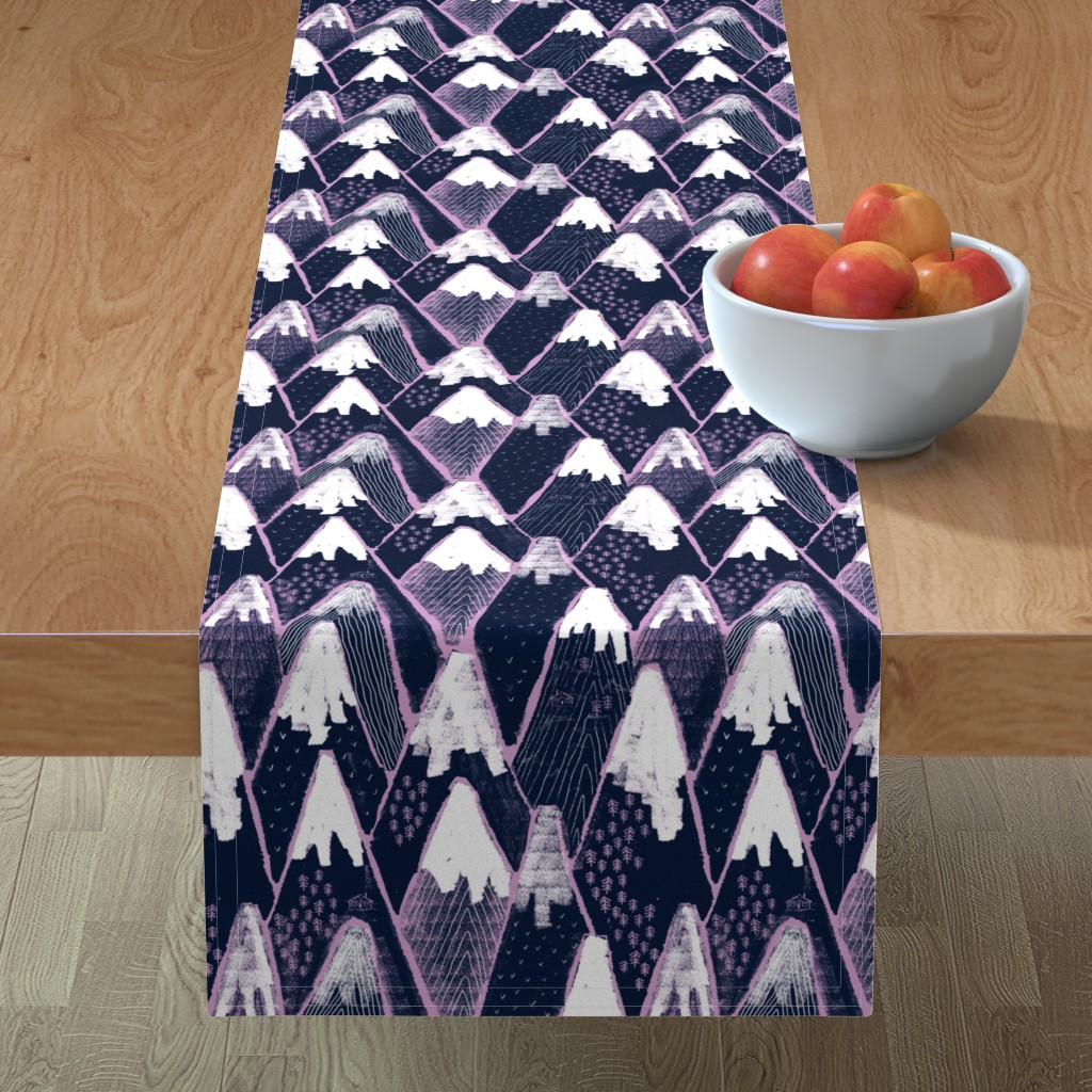 Minorca Table Runner featuring Snow mountains by ruth_robson