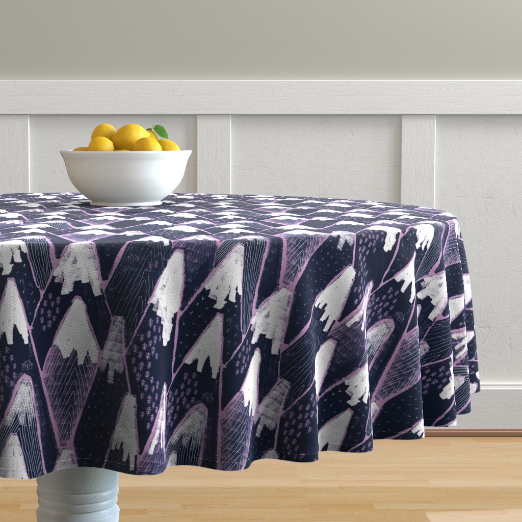 Malay Round Tablecloth featuring Snow mountains by ruth_robson
