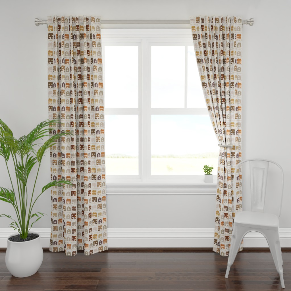 Plymouth Curtain Panel featuring Modern Country Farmhouses by thewellingtonboot