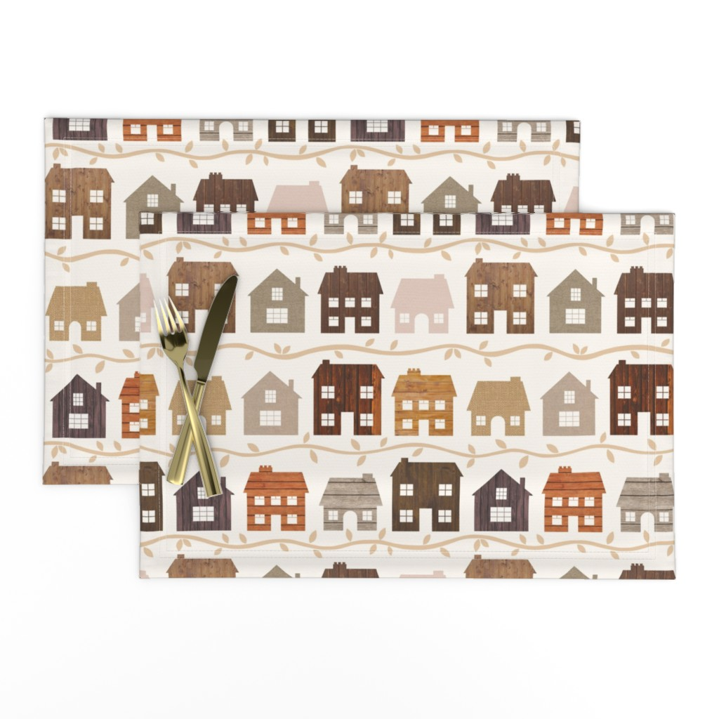 Lamona Cloth Placemats featuring Modern Country Farmhouses by thewellingtonboot