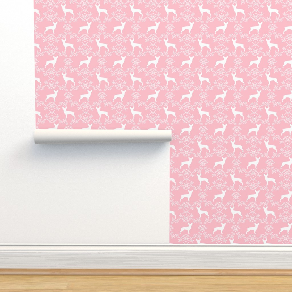Isobar Durable Wallpaper featuring min pin floral silhouette miniature doberman pinscher fabric pink by petfriendly