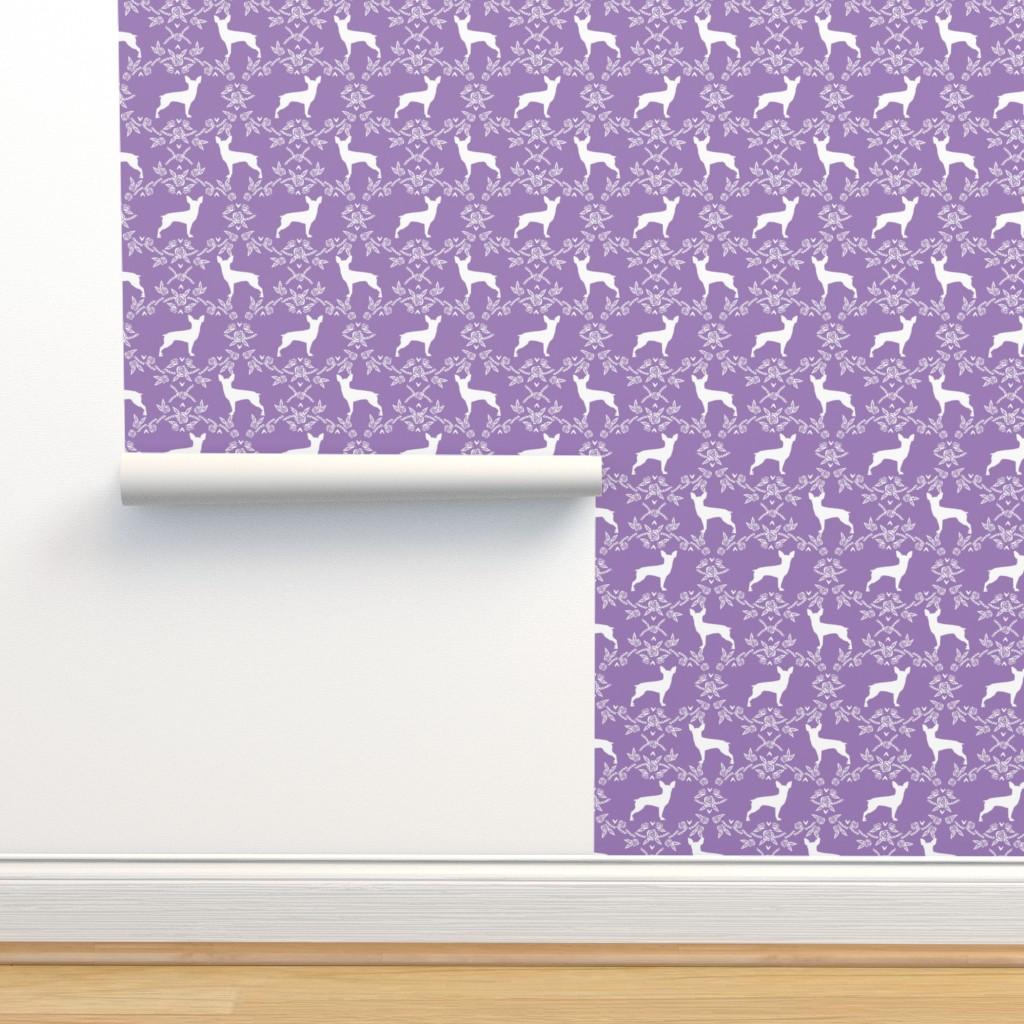 Isobar Durable Wallpaper featuring min pin floral silhouette miniature doberman pinscher fabric purple by petfriendly