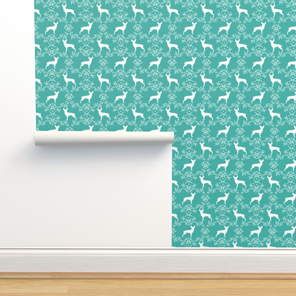 Isobar Durable Wallpaper featuring min pin floral silhouette miniature doberman pinscher fabric turquoise by petfriendly