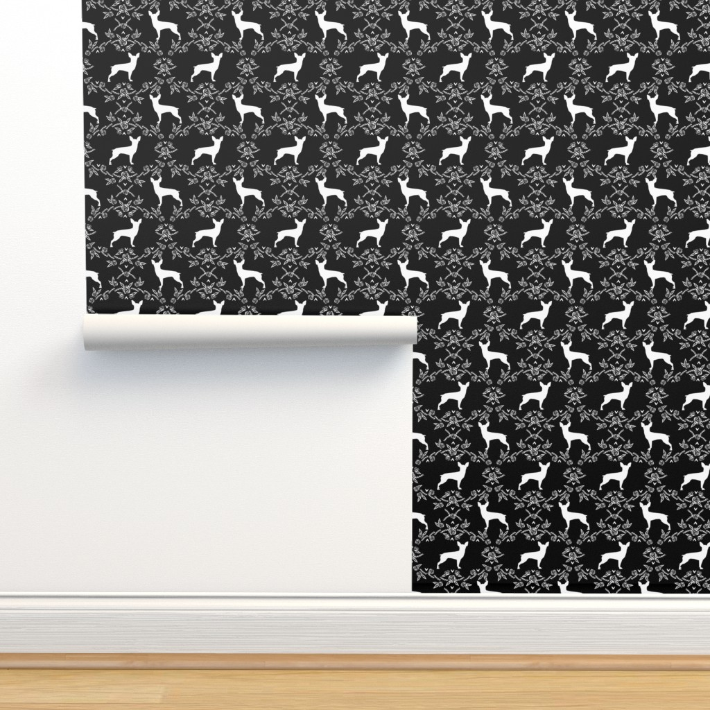 Isobar Durable Wallpaper featuring min pin floral silhouette miniature doberman pinscher fabric black and white by petfriendly