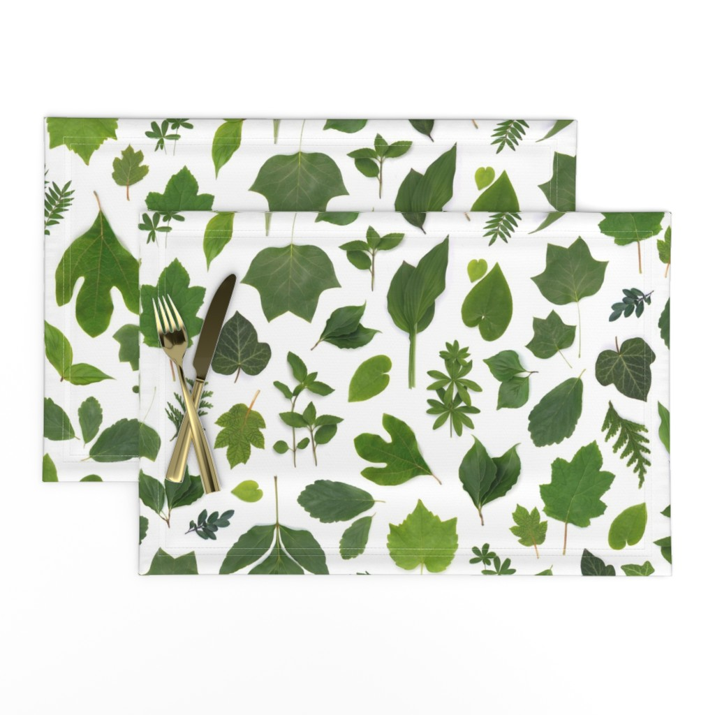 Lamona Cloth Placemats featuring green leaves of summer by bottle_branch