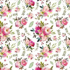 Watercolor Peonies & Roses - Floral Pink Plum Blush Flowers Garden Blooms Baby Girl Nursery C