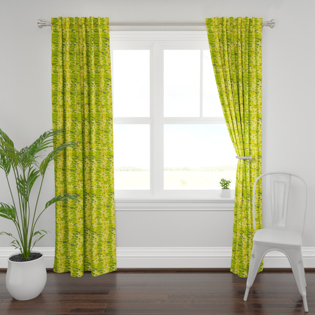 Plymouth Curtain Panel featuring daffs towel by lfntextiles