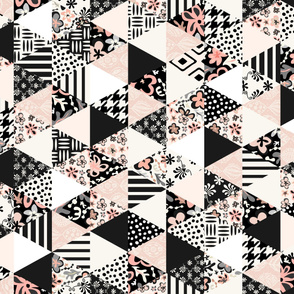 Triangle Quilt - Black, White, Pale Pink 42x36-150dpi