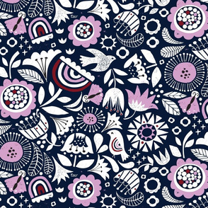 Linocut Vintage Floral