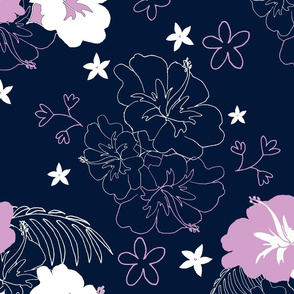 Navy and Orchid Hibiscus  Large Size