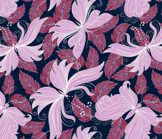 floral butterflies in lilac, scarlet, and navy