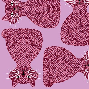 Knotty Cat - burgundy on orchid, big