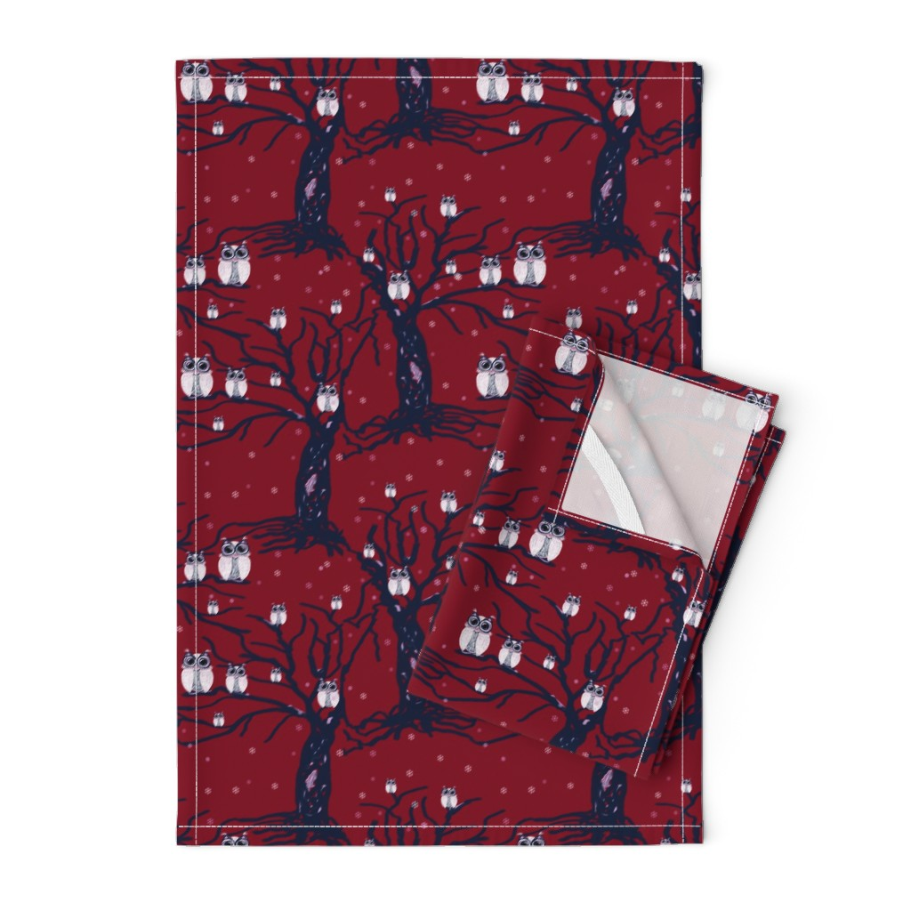 Orpington Tea Towels featuring WINTER OWLS burgundy by paysmage