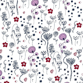 Orchid and navy abstract flowers tulips dandelions roses