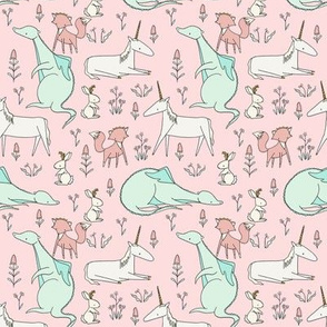 Enchanted Creatures Repeat  PINK // by Sweet Melody Designs