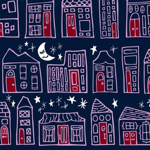 Starry Night in the City // Orchid + Navy Sweet Dreams at Home Sweet Home under a Twinkling Sky with Winking Moon
