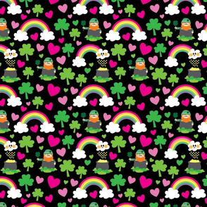 aloha leprechaun and rainbow on black