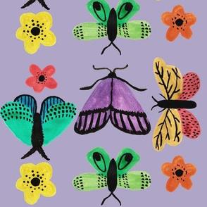 Moths and butterflies purple