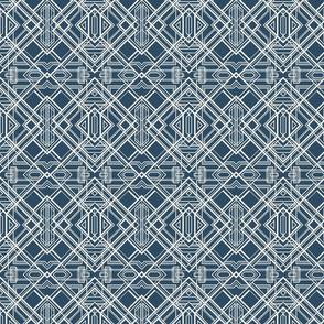 art deco lines coconut milk on sailor blue