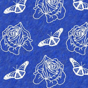 Roses and Butterflies on Butterfly Blue