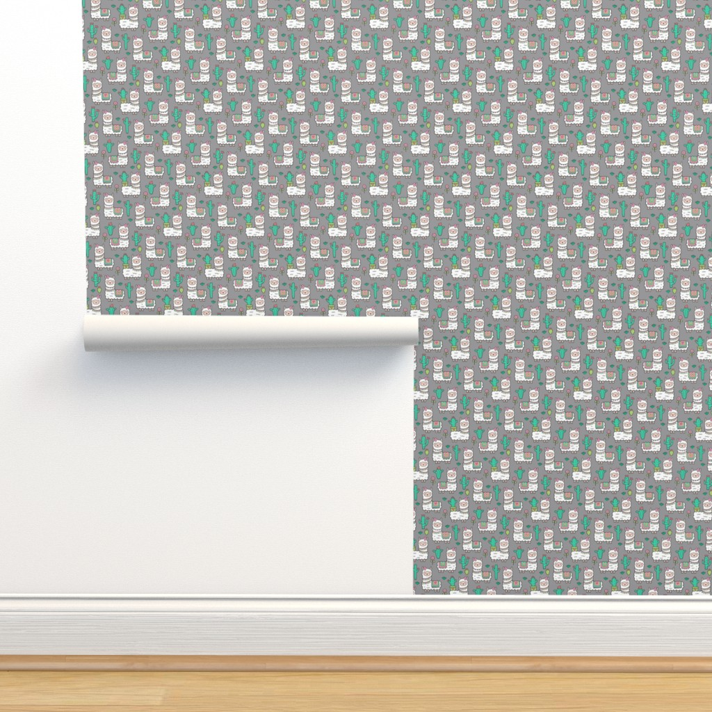 Isobar Durable Wallpaper featuring llamas  Alpaca Cactus & Flowers on Grey Tiny Small 1 inch by caja_design
