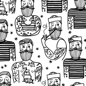 Hipster Sailor Tattoo Parlour in BLACK