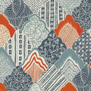 Indian flame stitch (grey/orange)