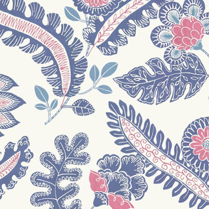 Indian chintz (grey/blue and faded red)